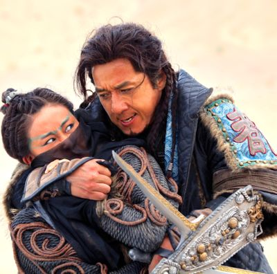 Dragon Blade's Jackie Chan has Lin Peng in his arms during fight