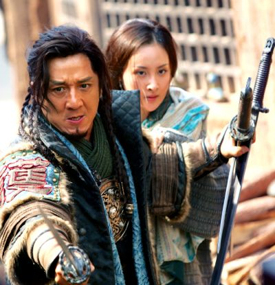 Dragon Blade's Jackie Chan fights assassins while protecting wife Mika Wang