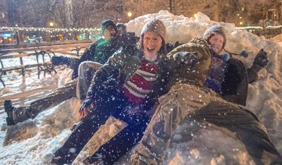 Night Before's Anthony Mackie, Joseph Gordon-Levitt and Seth Rogen frolic in snow storm