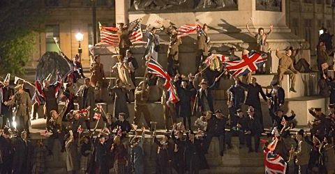 Royal Night Out sees crowd waving British flags on V-E Night