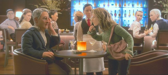 Anomalisa stop-motion film shows bar scene with many puppets