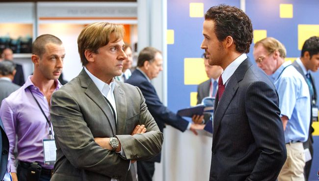 Big Short's Steve Carell and Ryan Gosling have intense conversation eye to eye in business office