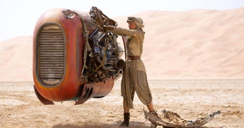 Star Wars' Daisy Ridley tingers with her air hover craft in desert