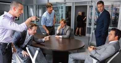 Big Short's Steve Carell and associates grill Ryan Gosling at table over business deal