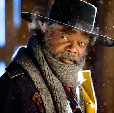 Hateful Eight's Samuel L. Jackson in broad hat and warm clothes looks to his right