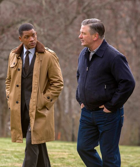Concussion's Will Smith and Alec Baldwin stroll and talk on rural estate