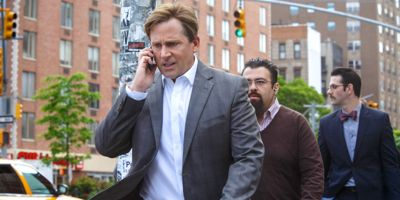 Big Short's Steve Carell strides down Manhattan street speaking into cell phone