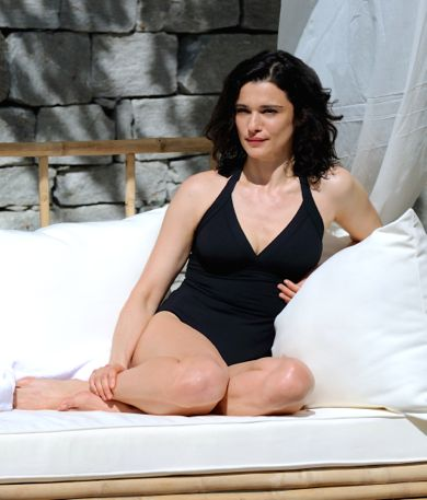 Youth's Rachel Weisz in bathing suit lounges on spa sofa