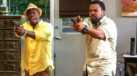 Ride Along 2's Kevin Hart and Ice Cube point pistols off camera