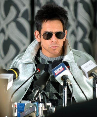 Zoolander's Ben Stiller faces media as Derek Zoolander