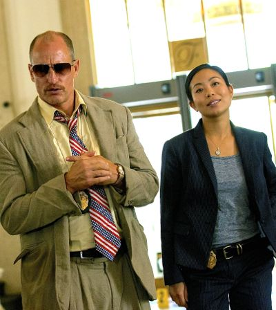Triple 9's Woody Harrelson, Michelle Ang enter police headquarters
