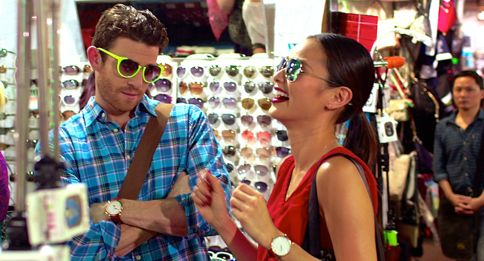 Already Tomorrow in Hong Kong's Bryn Greenberg & Jamie Chung laugh over object for sale in Hong Kong shop