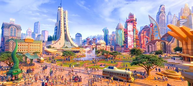 Zootopia's  Savanna Central where all the mammals meet up in the city center