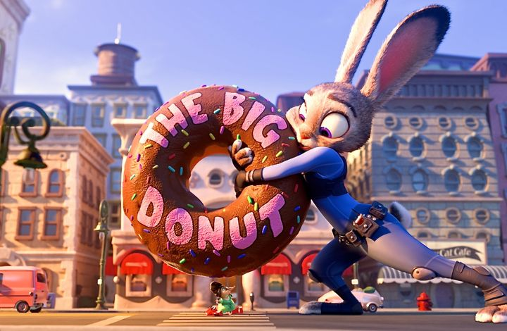 Zootopia's Judy Hopps saves rodent from being crushed  by giant donut sign