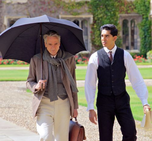 Man Who Knew Infinity's Dev Patel strolls with Jeremy Irons in Trinity College Cambridge's court