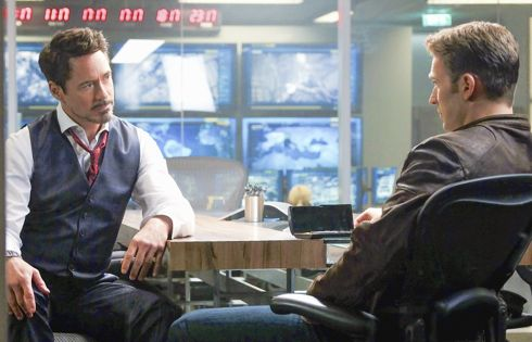 Captain America's Chris Evans, Robert Downey Jr. talk in control room