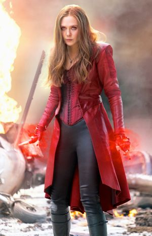 Captain America's Elizabeth Olsen has red energy coming from hands in battle with other Avengers