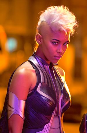 X-Men: Apocalpse's Alexandra Shipp stares at camera as Storm