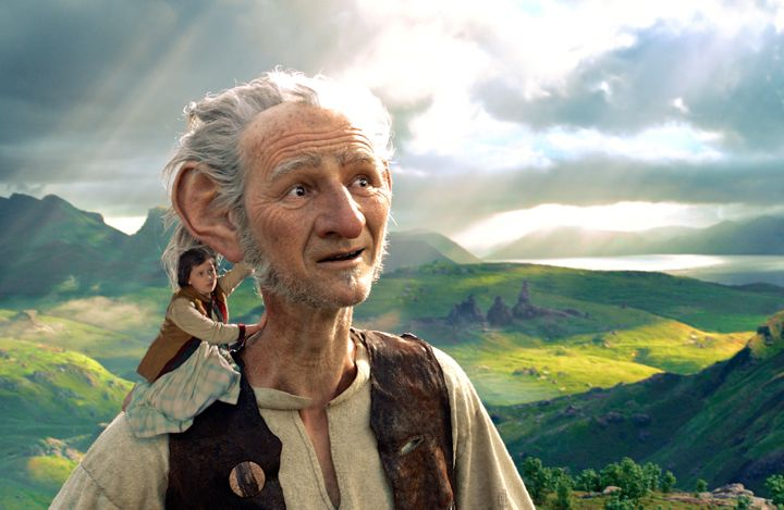 In Steven Spielberg's The BFG Mark Rylance's giant carries tiny Ruby Barnhill on shoulder