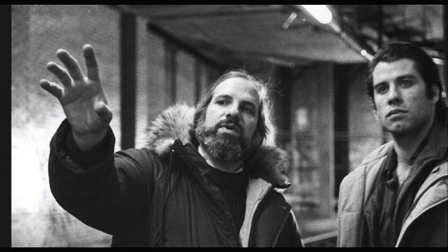 "Brian De Palma and John Travolta discuss scene on set of ""Blow Out"""
