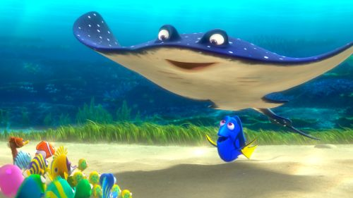 Finding Dory's Dory and Ray teach a school of fish