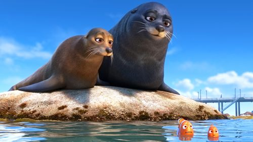 Finding Dory's Martin and Nemo get guidance from a pair of lazy sea in Morro Bay