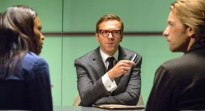 Our Kind Traitor's Ewan McGregor, Naomie Harris confront Damian Lewis across a shiny table