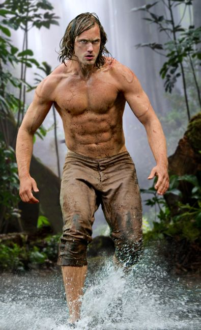 Legend of Tarzan's Alexander Skarsgård runs bare chested in jungle