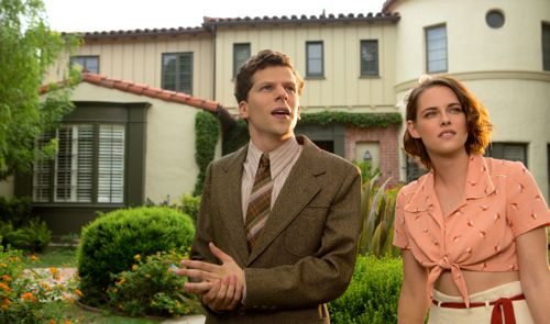 Cafe Society's Jesse Eisenberg, Kristen Stewart stand outside movie star's home in late '30s