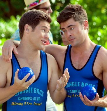 Mike and Dave's Zac Efron, Adam Devine get cozywhile playing beach sport