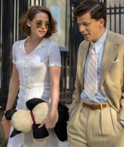 Cafe Society's Jesse Eisenberg, Kristen Stewart stroll Manhattan street circ 1930s in Woody Allen movie