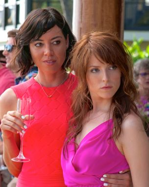 "Mike & Dave's Aubrey Plaza and Anna Kendrick hold drinks as they gaze to the right at their dubious ""dates"""
