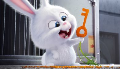 Secret Life of Pet's Snowball (KEVIN HART) , leader of the Flushed Pets, lists a carrot key