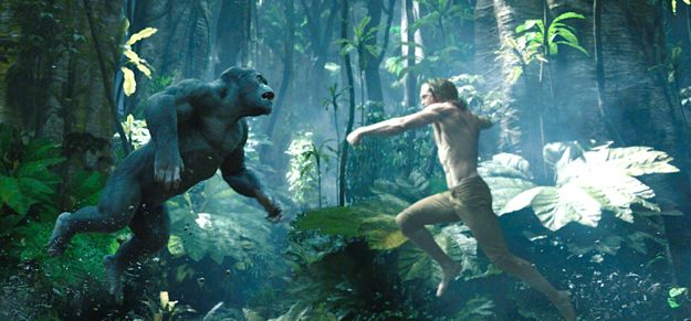 Legend of Tarzan's Alexander Skarsgård leaps toward giant ape in jungle