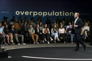 Inferno's Ben Foster lectures audience on overpopulation theory
