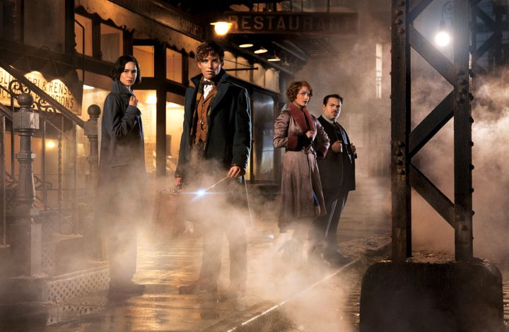 Fantastic Beasts' Eddie Redmayne, Katherine Waterston, Dan Fogler, Alison Sudol pose on foggy New York set