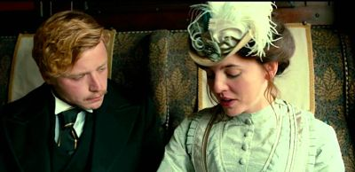 Tommy's Honour's Jack Lowden & Ophelia Lovibond hold intimate conversation in railroad carriage